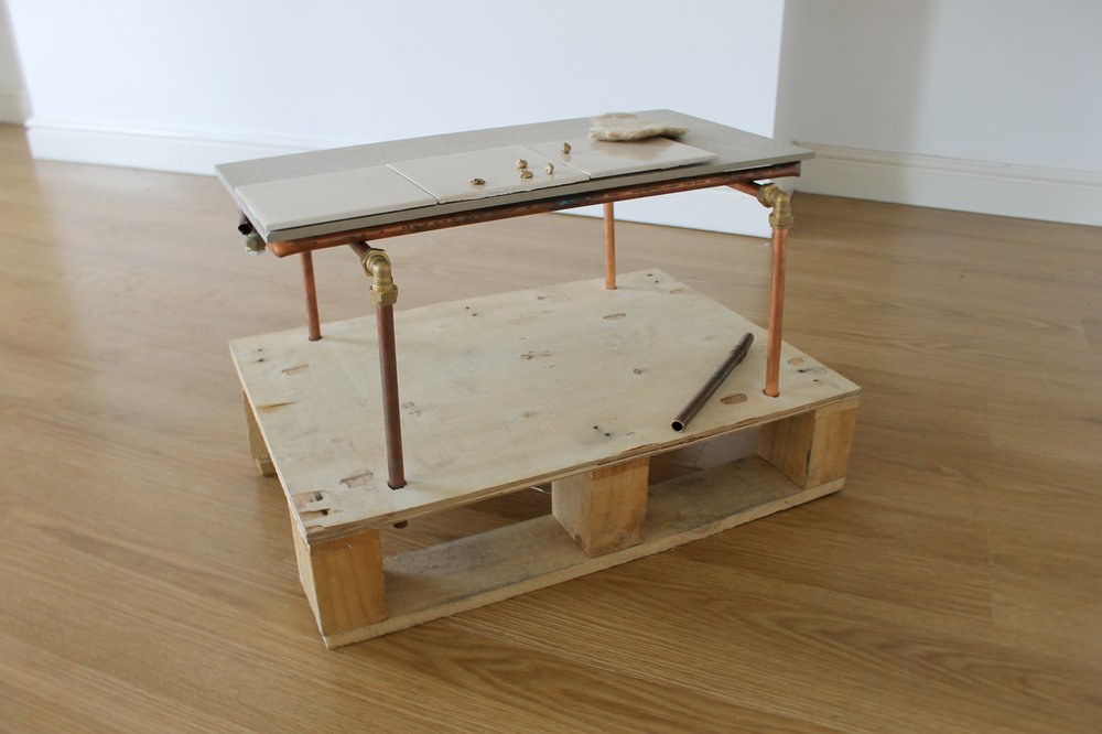 Emma Curd   Salt Seller,  (2016)  Wood, tiles, copper piping, felt, hair, gum, bronze and gold