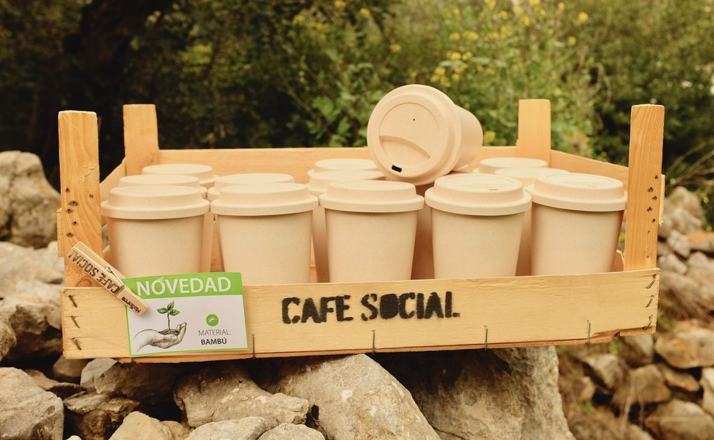 Environmentally friendly and reusable coffee cups by CAFE SOCIAL Mallorca, a mobile cafe serving specialty coffees in the local markets across the island