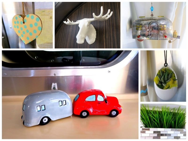 We like to keep our space uncluttered but we have a few trinkets here and there to make the trailer our own.