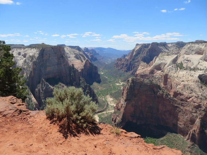 View from the top looking down on Angels Landing