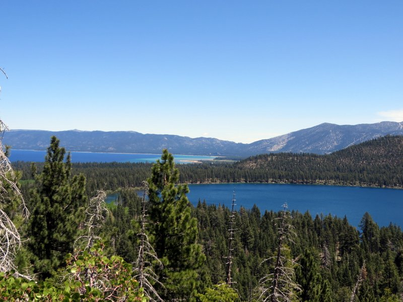 Looking back to Lake Tahoe and Fallen Leaf lake from the trail