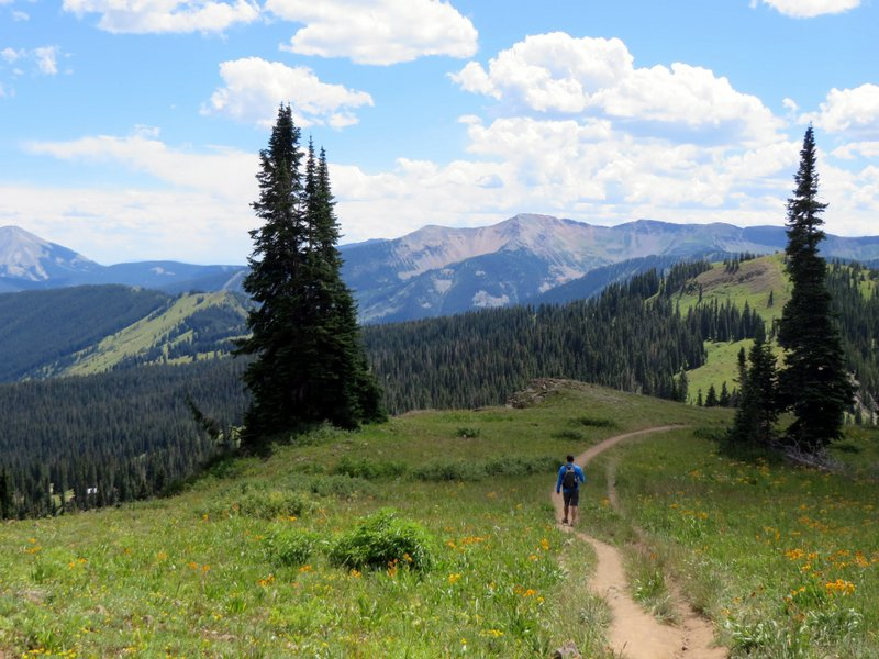 Making the most of some sunshine. Hiking at over 10,000 feet in Crested Butte