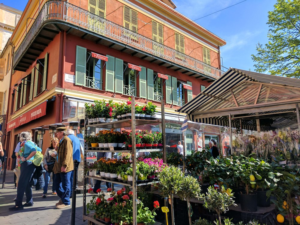 Flower market in old town Nice