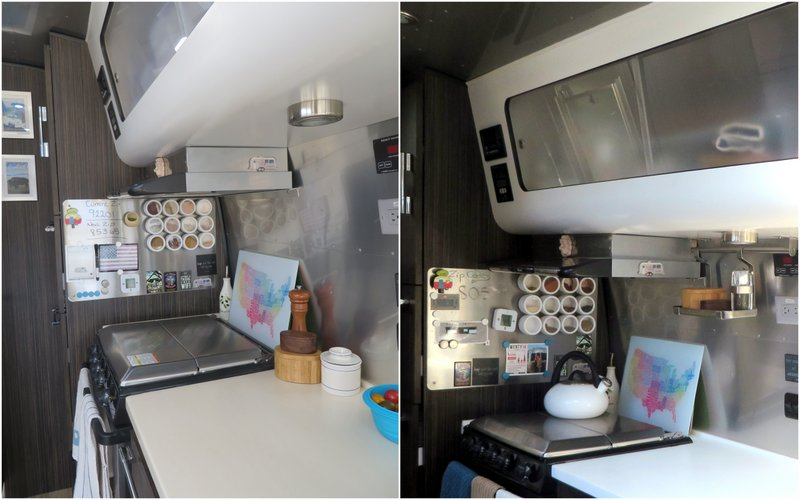 We never liked the beige kitchen countertop that came with the Airstream so we switched out for white corian countertop