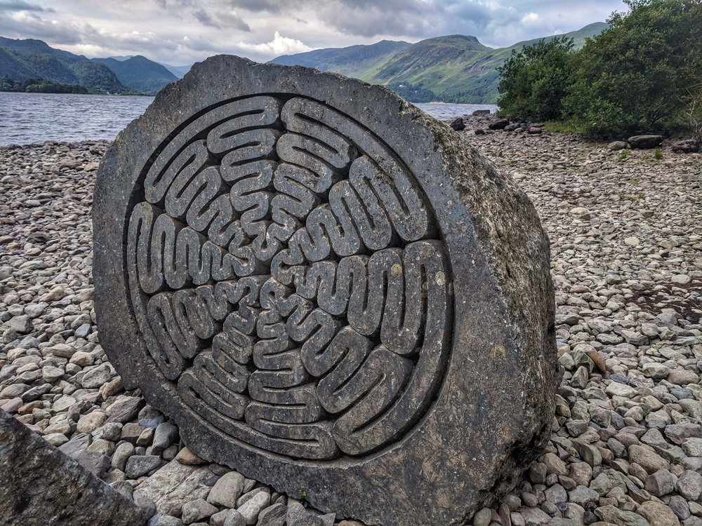Cool stone art on the shores of Derwentwater
