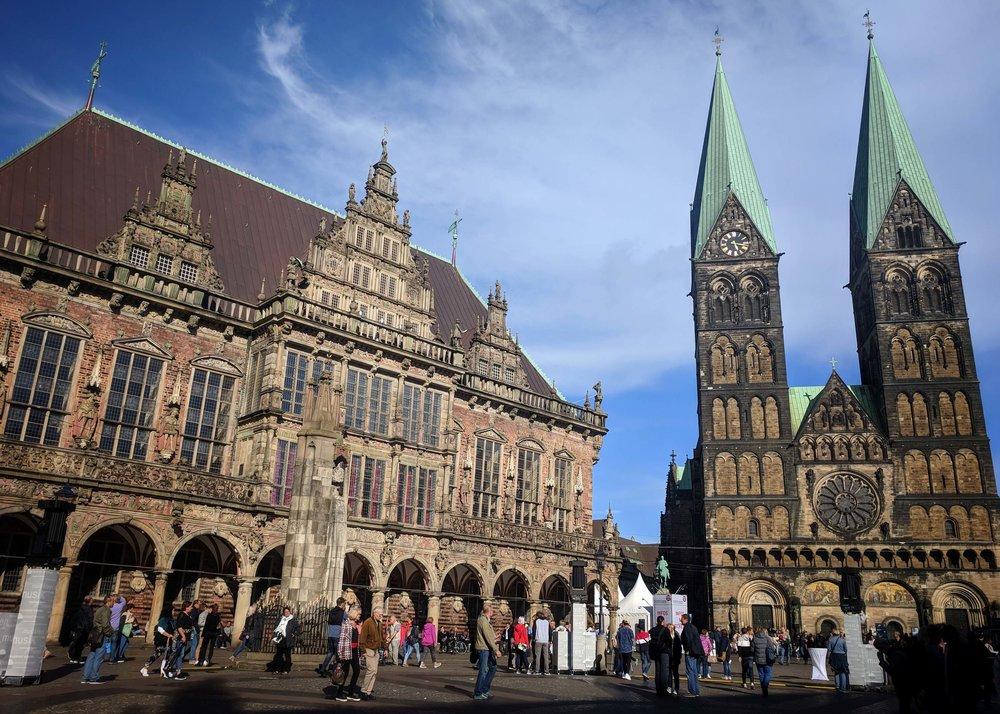 The beautiful architecture of the Marktplatz in Bremen