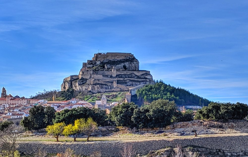 Our view from the free camping spot in Morella