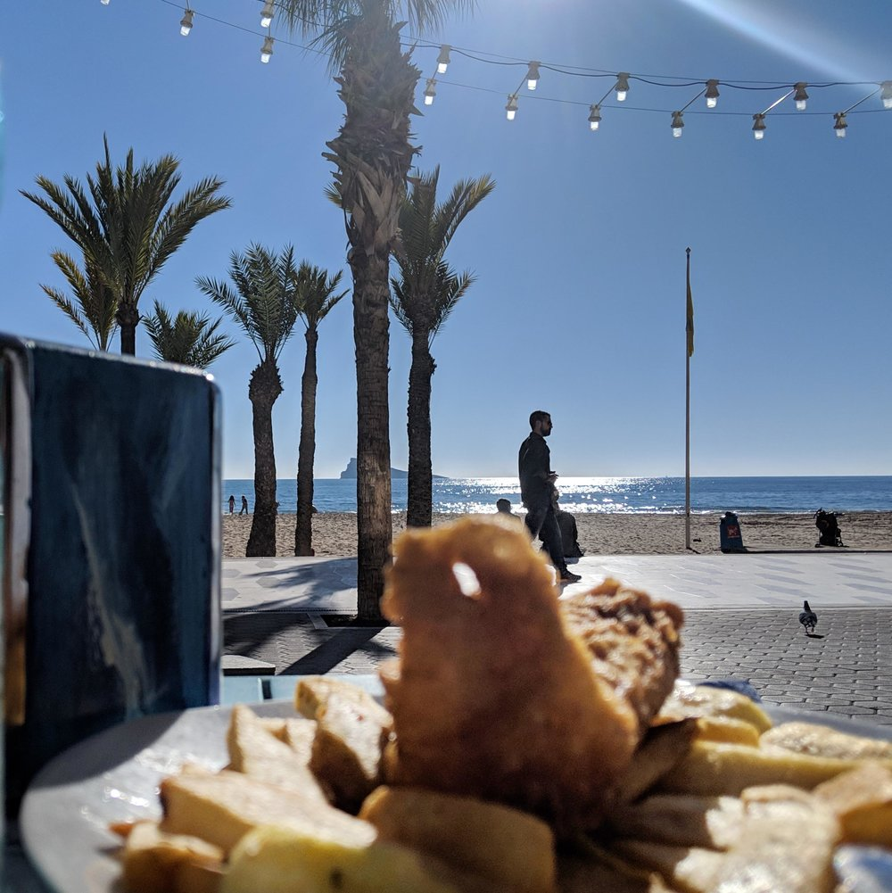 Conforming to the Brits Abroad stereotype…Fish & Chips in Benidorm