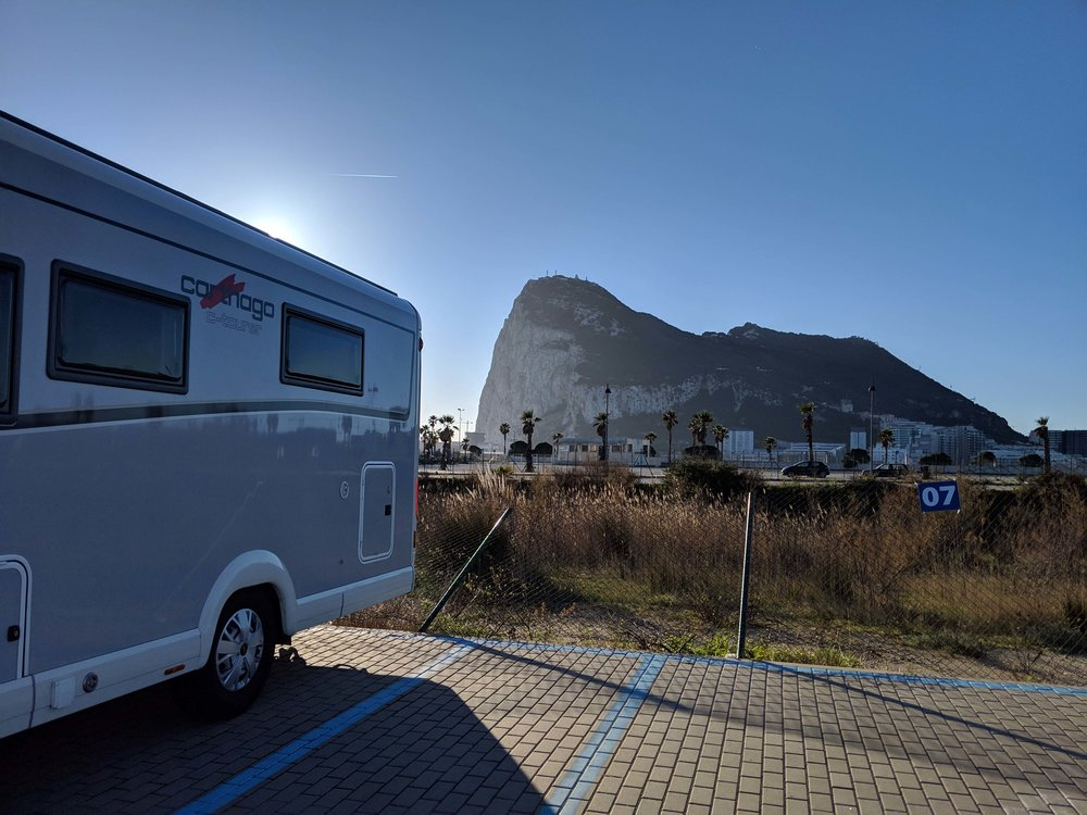 Parked up in the shadow of the Rock