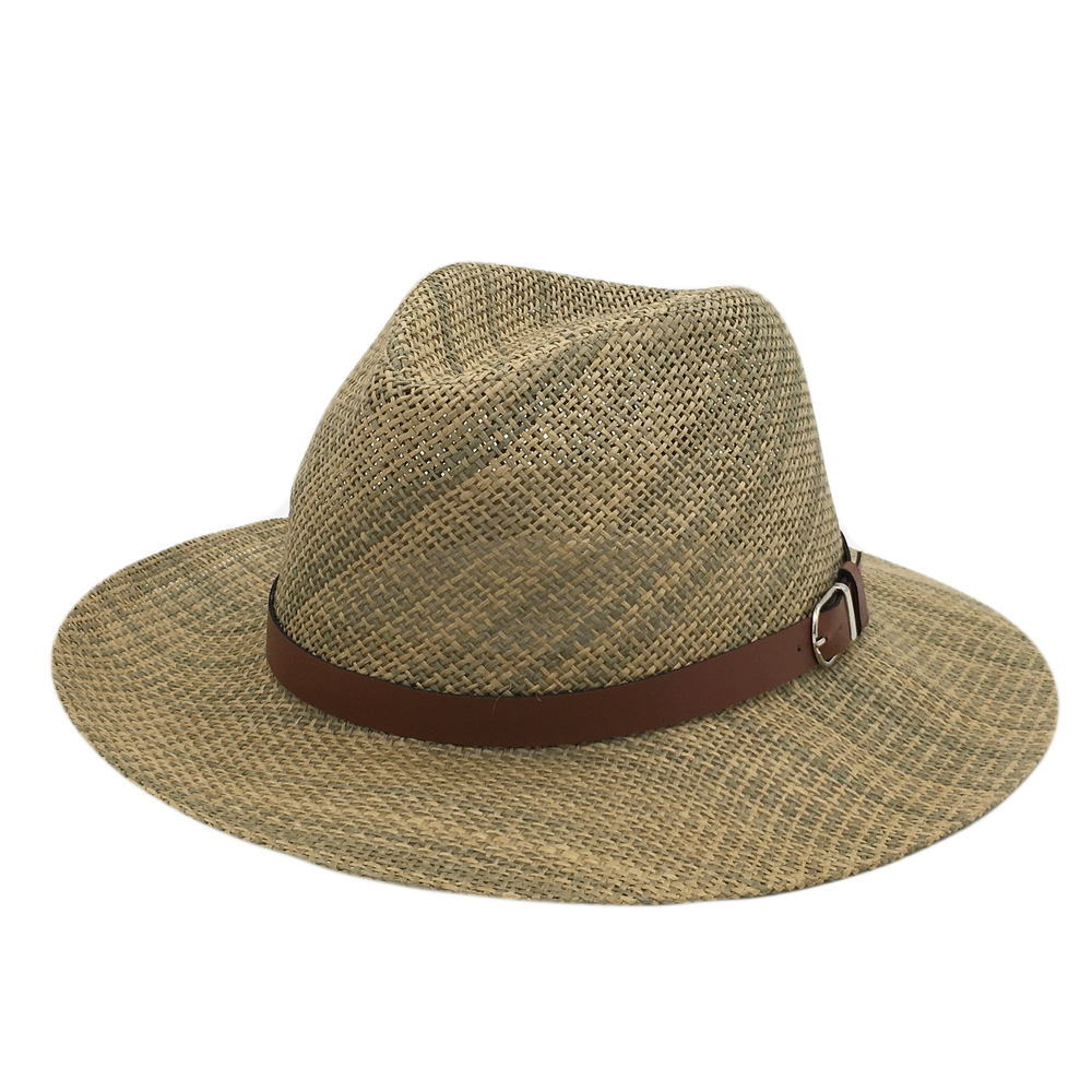Custom PVC Leather Strip Straw Hat