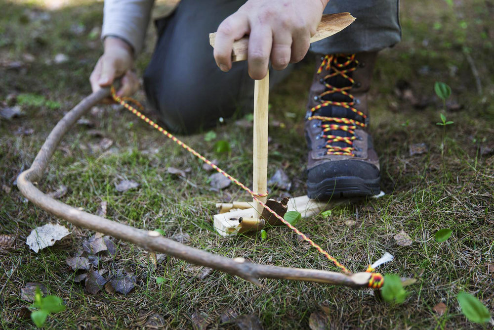 you will learn how to make a fire with a bow drill.