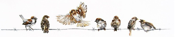 Birds on a wire - painting by fine artist Kate Simpson
