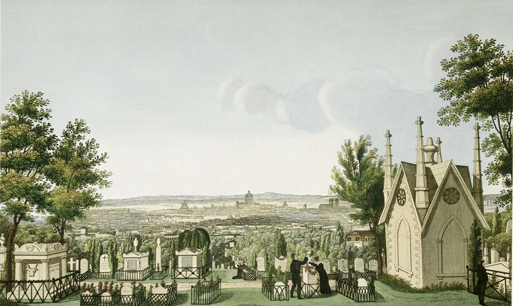 view of Paris from Père-Lachaise, c. 1820