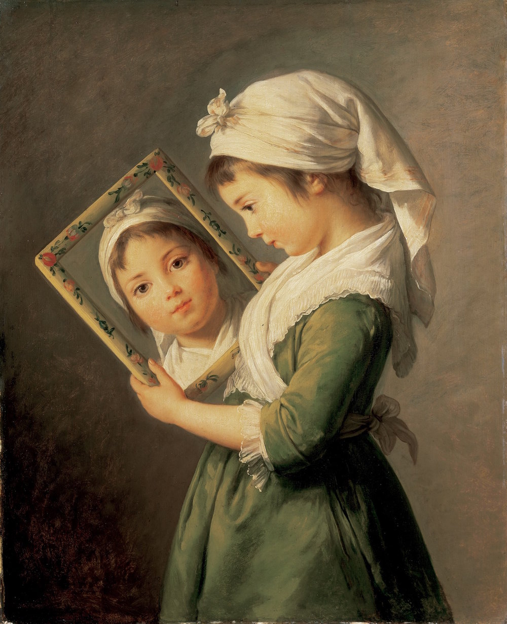 """Julie Le Brun looking in a mirror"" by her mother, Elisabeth Vigée Le Brun"