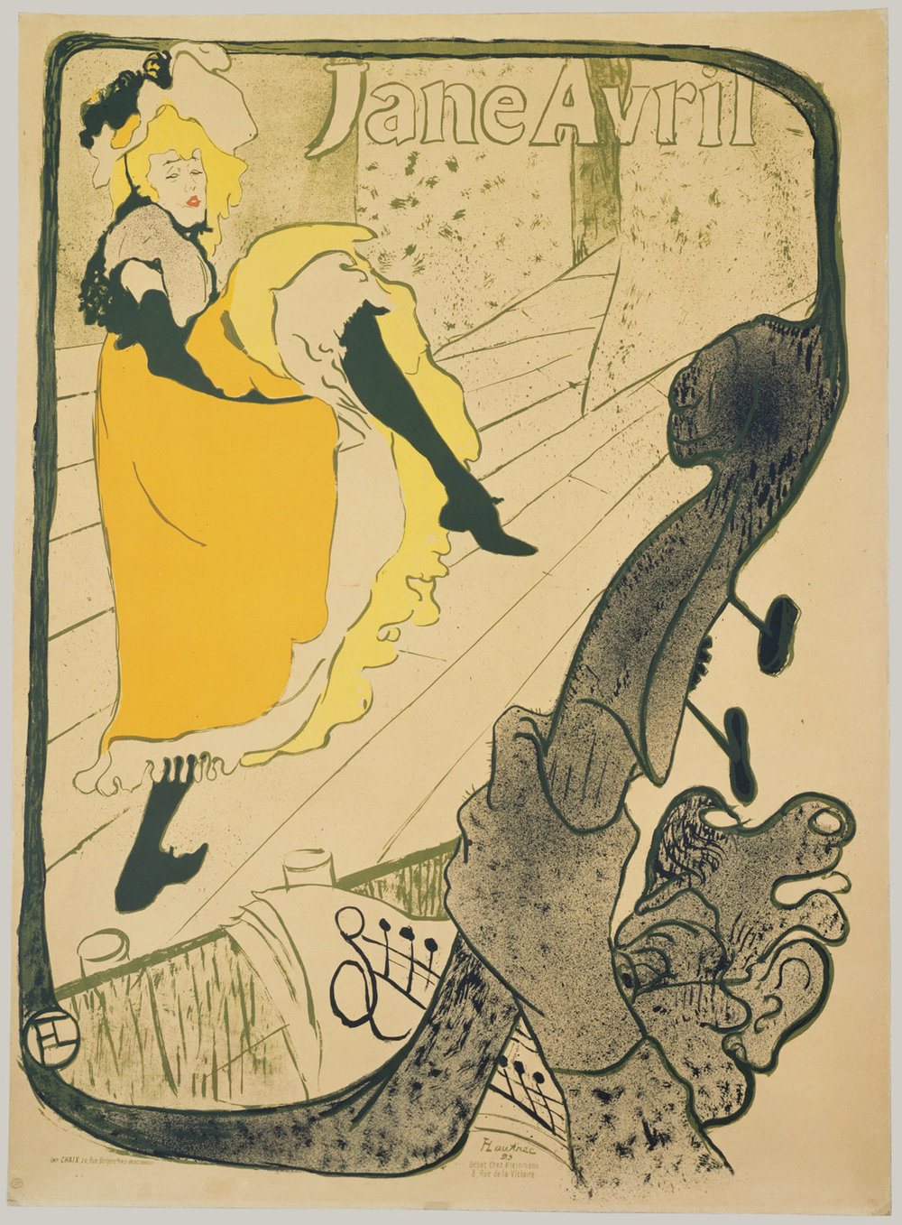 Post of Jane Avril by Toulouse-Lautrec