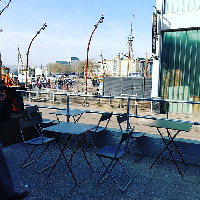 The view from the office today @wappingwharf. The Shack is open until 6pm. We've got loads of 100% plant based tasty street food, plus the little train is running today! 😊🚂 #gopalscurryshack #cargo2 #wappingwharfbristol #veggie #vegetarian #veganbristol #vegan #sunnyday #bristol #bristol247 #bristoleats #wrigglebristol