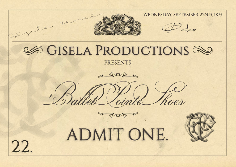 Prop Ticket - A 'Victorian' theatre ticket for short film 'Ballet Pointe Shoes'.