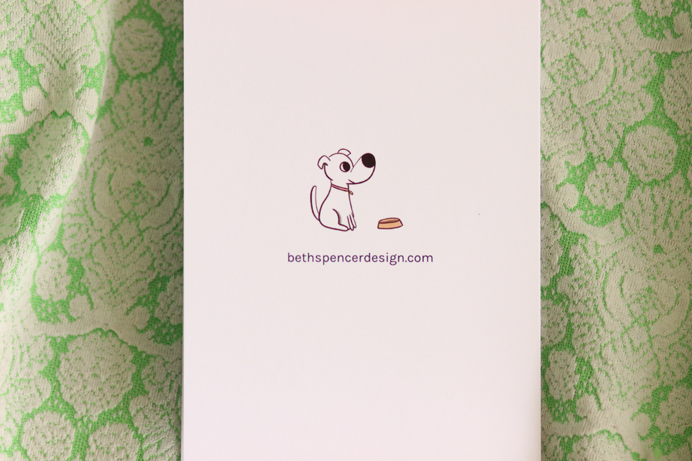 Cute Dog Illustration on Back of Card