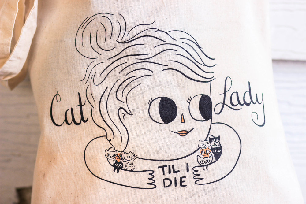 Cat Lady 'til I Die Tote is available to purchase from   Beth Spencer Design   on Etsy!