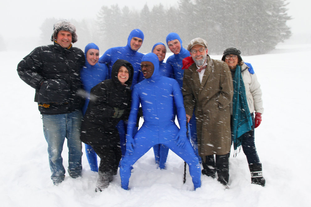The camera is hidden in my down hood, in my hand.  The dancers were frozen, so were we, but we had a blast.  Blue suits=dance students, me, far left, Jennette Tario,  Kerri Canedy (choreographer)  John Balderston, Claude Mumbere, Erin Connelly, Michael Orlando, Charlie Pepiton (actor), and Selina French (makeup/wardrobe).  I hope I got the dancers' names correct!