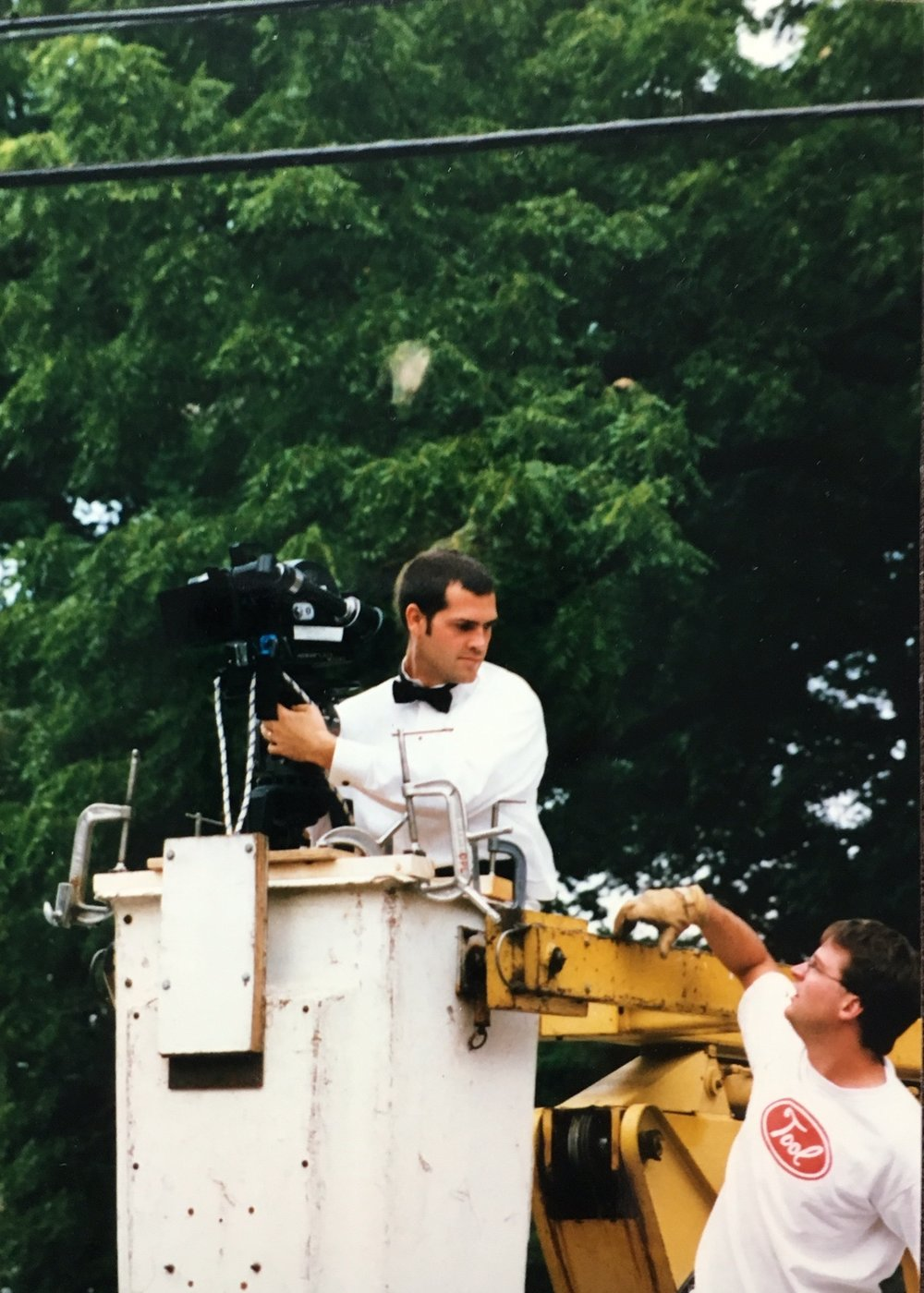 Big Boy with a camera- With Producer Kelly Christensen (right) filming Four Way Stop (1998)