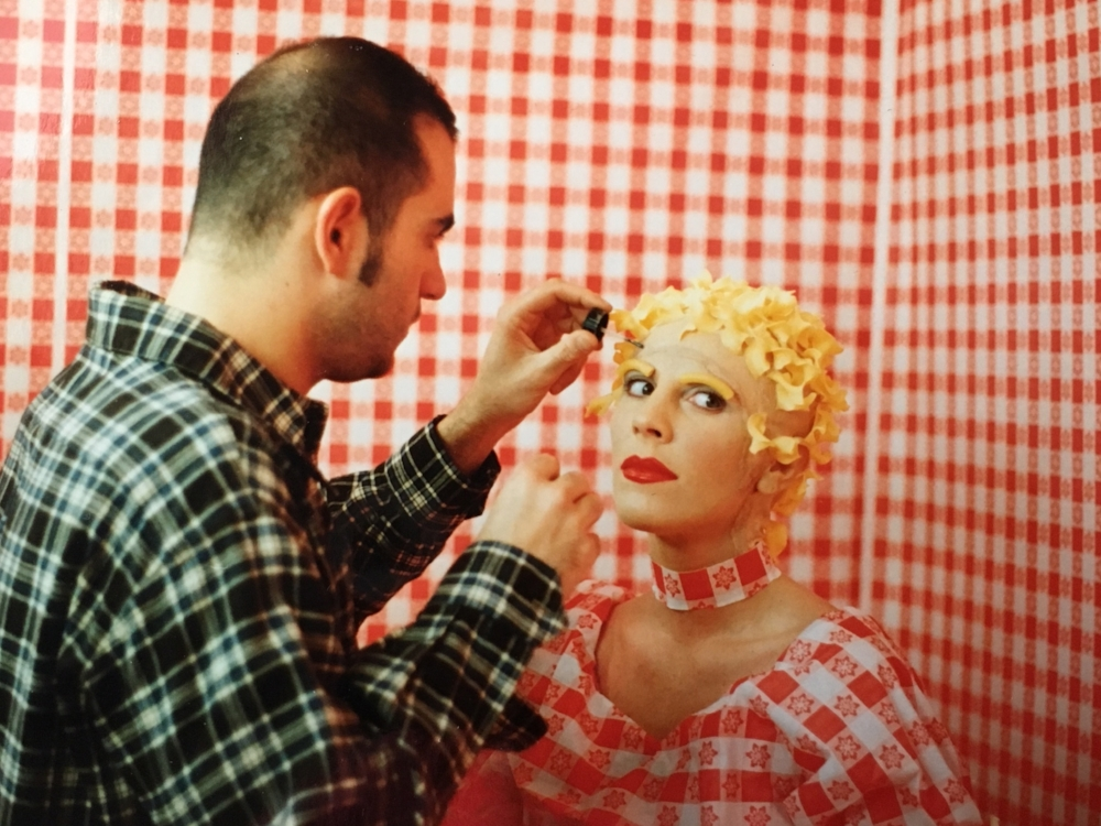 Eric Barbella applying makeup to Candice Clark