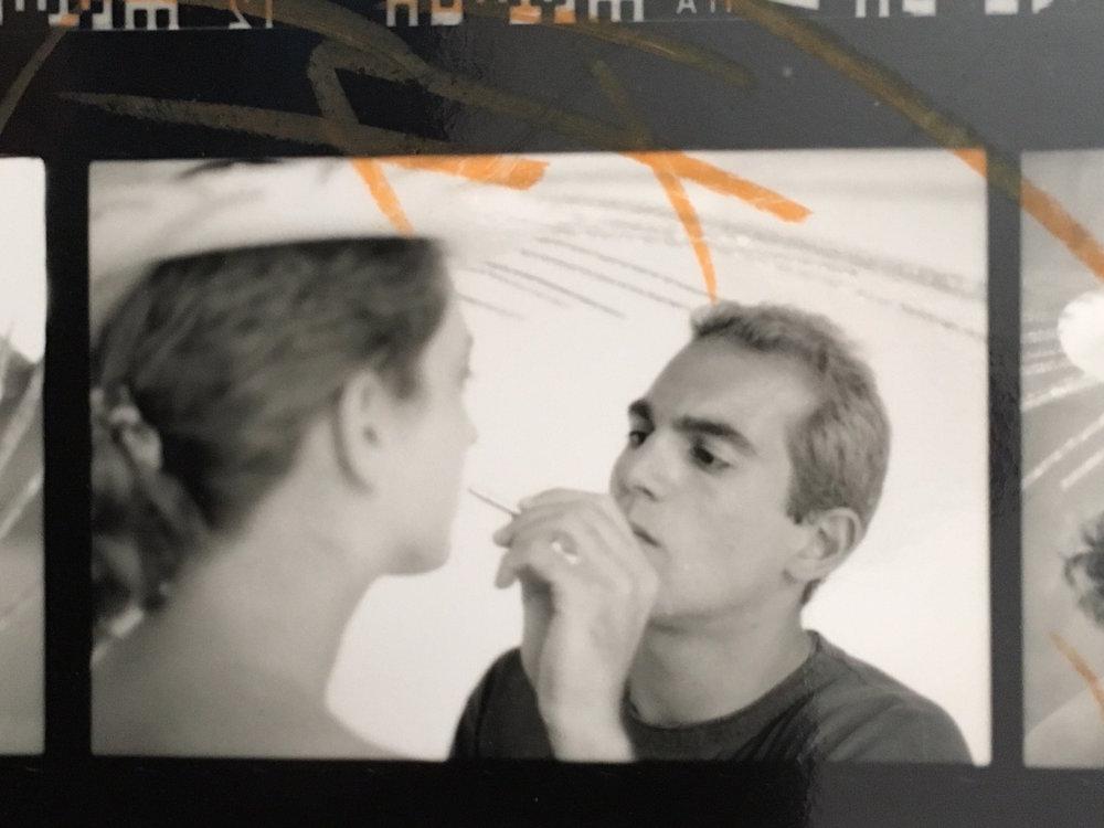 Eric Barbella applying makeup