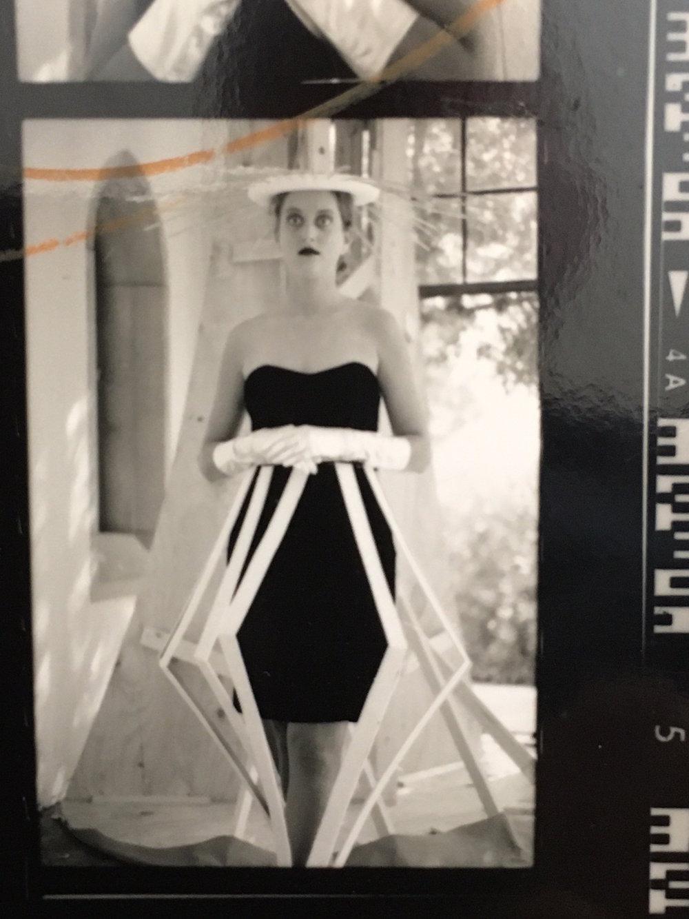 Reagan in wardrobe, set-piece behind her