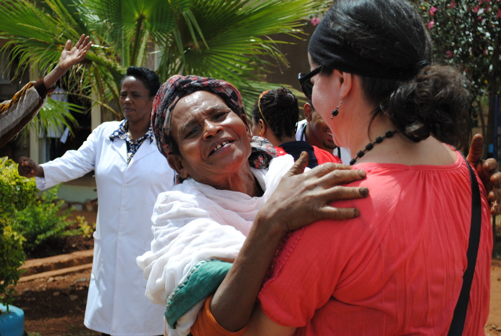 Shelley Green greets Sulded, a woman who lives in Soddo, Ethiopia and needed the help of Mothers with a Heart for Ethiopia to correct a prolapsed uterus. So far the organization has sponsored 83 of those surgeries.