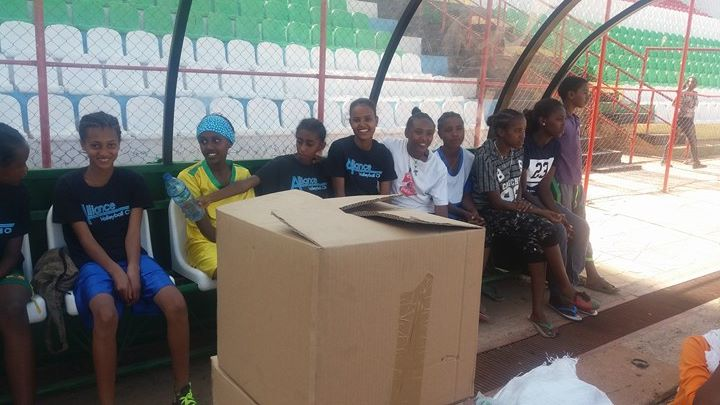 The girls were eager to see their new soccer shoes and soccer balls! MWAHFE donated uniforms and equipment to the team.