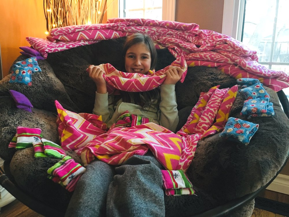 Olivia Wedlake, 10, is sewing hand warmers, eye pillows and warming neck pillows to raise money for toys for children in Ethiopia!