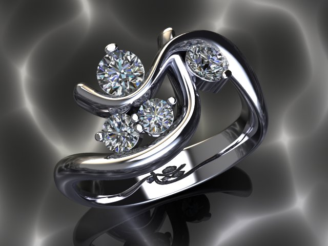 This platinum ring was made with the client's diamonds and old platinum