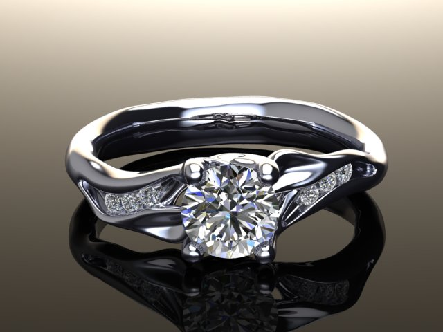 leaf diamond engagement ring