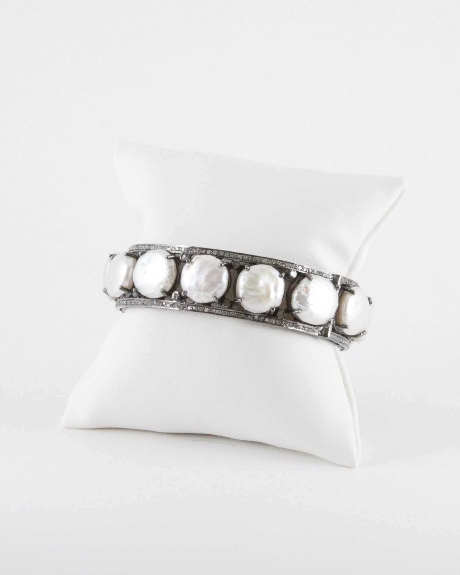 made white p row bracelet diamond pearl custom gold