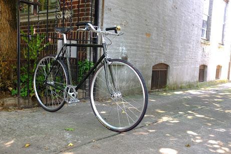 A green single speed bike sitting under the shade of a tree in Ridgewood.