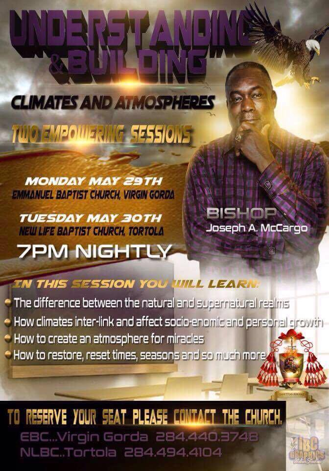 Understanding and Building Climates and Atmospheres - Join us tomorrow evening for an powerful one night session with Bishop Joseph McCargo from MarylandCome experience the amazing