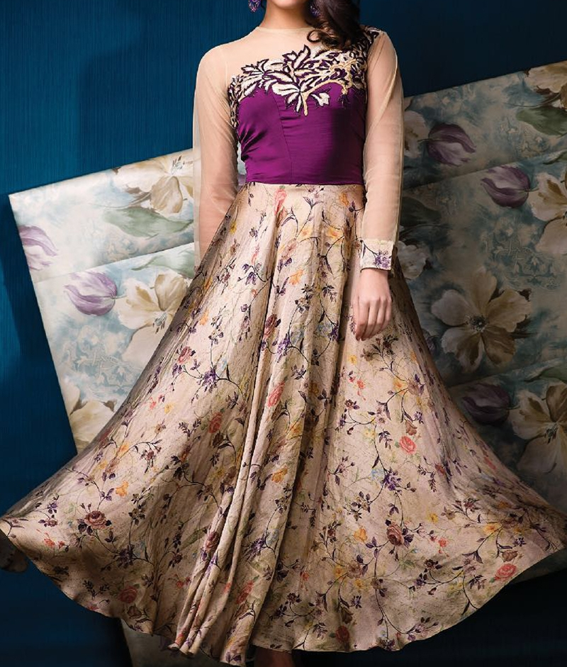 Beige Silk Party Wear Embroidered Gown — Tri Libaas