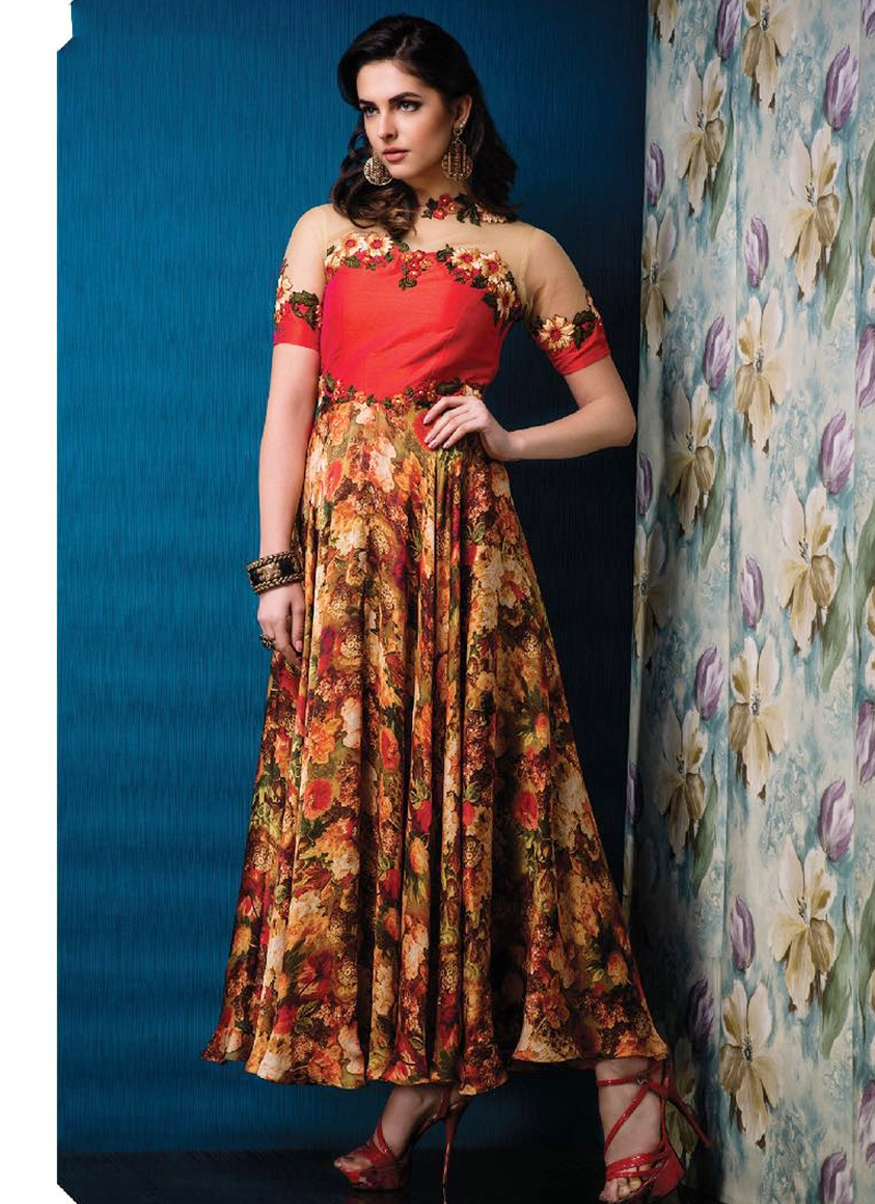 Multi Color Silk Party Wear Embroidered Gown — Tri Libaas