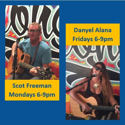 On Mondays from 6-9pm, we are pleased to have Scot Freeman on guitar playing alternative folk rock with classics by Eric Clapton, Rod Stewart, Van Morrison, the Beatles and many other favorites.