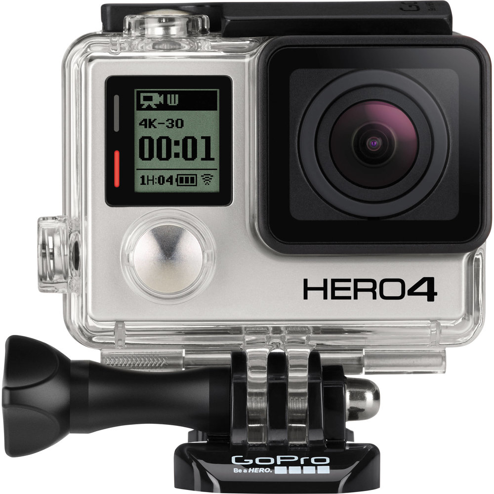 GoPro   Hero 4   Action camera (12MP, 4K and HD video and photos)  Comes with: Micro SD card, tripod adapters, waterproof housing  Find it in: The 6th Floor Hub