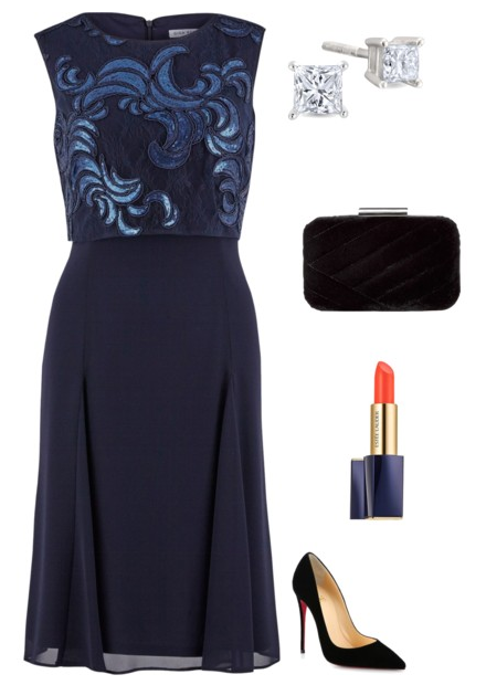 Navy dress Xmas Party Look