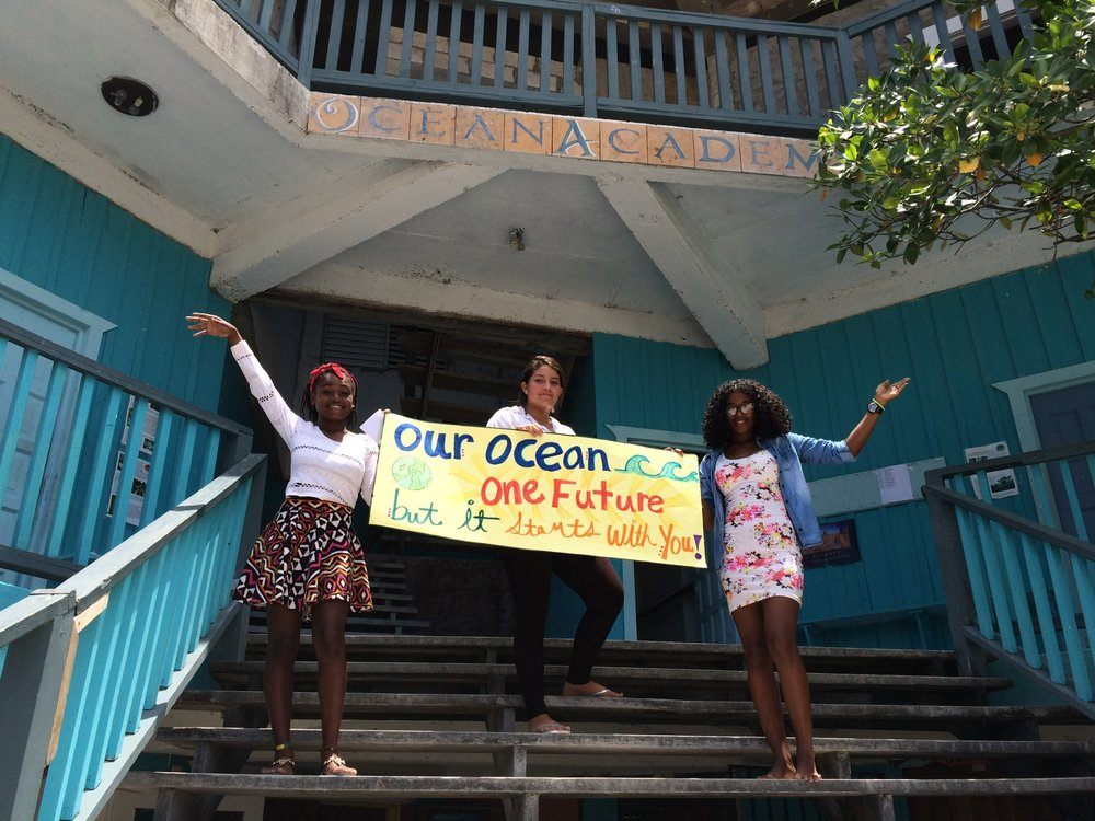 Students from Ocean Academy, Caye Caulker Beliz.