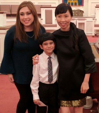Matias with Teacher Valerie and Teacher Christine at the New Mozart Winter Recital 2017