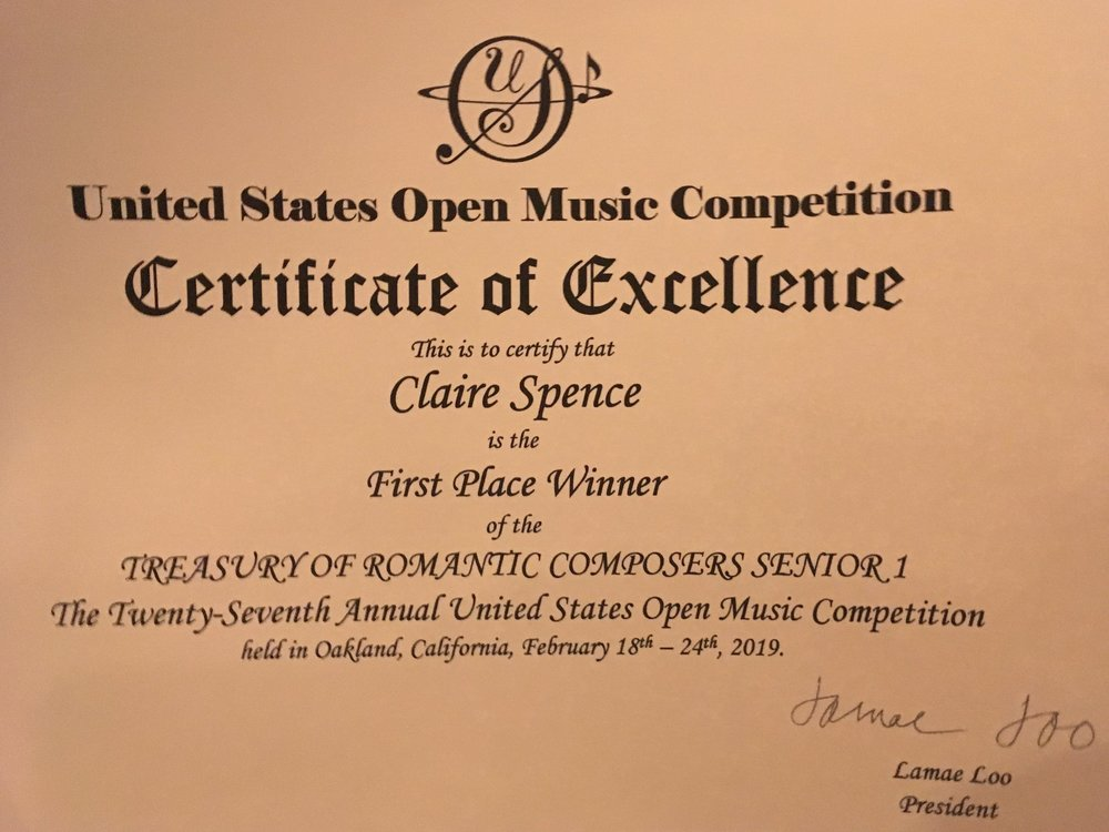 US Open Competition 1st Place Certificate