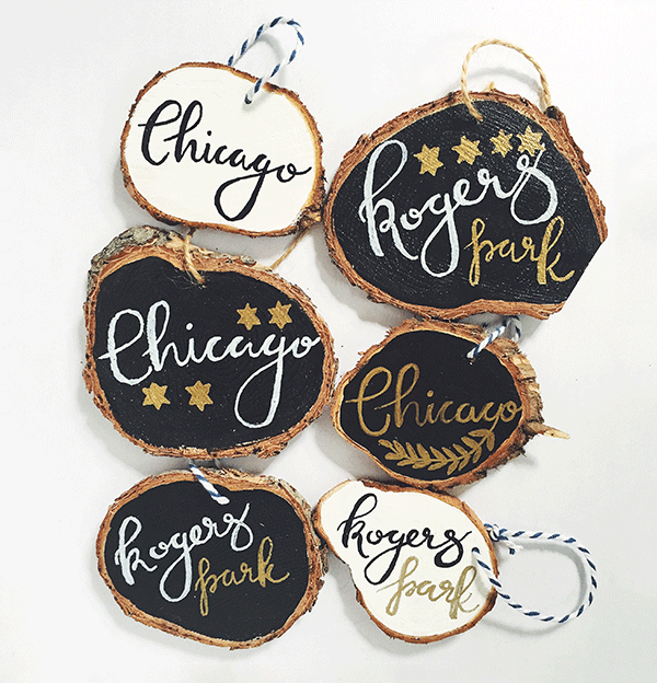 Handlettered Ornaments sold at Pottery Barn
