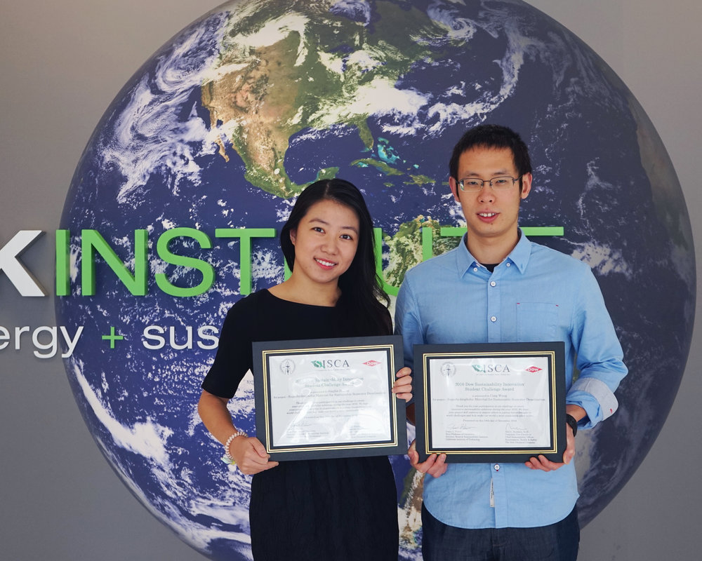 November 18, 2016. Jinglin (left) and Cong (right) receive the SISCA runner-up award.