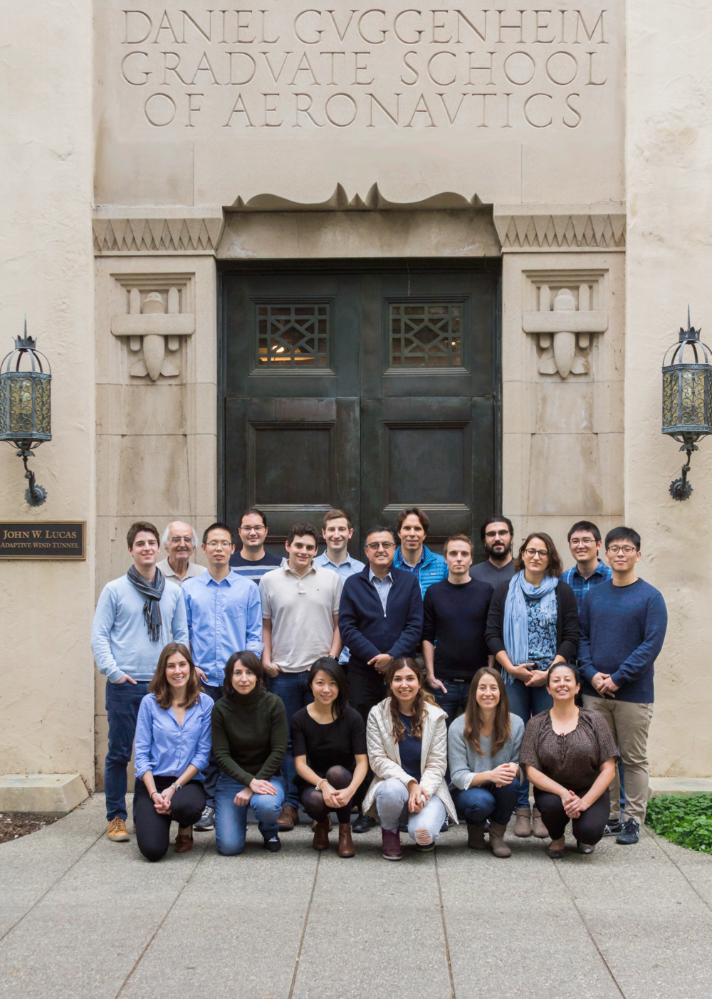 In front of the Guggenheim building for Aerospace Engineering at Caltech!  Going left to right. Front row: Stephanie, Isabelle, Jinglin, Azin, Cecilia, Martha. Middle row: Raimondo, Cong, Chris D., Professor Gharib, Damian, Morgane, Chris R. Back row: Masoud, Marcel, David B., Manu, Nathan.   Photo credit: Kali Dougherty from Kali Jeane Photography.