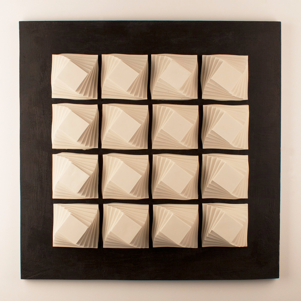 Helix Series: Wall Panel XVI  |  25 x 25 x 4 inches  |  Porcelain, Stained birch  |  2015