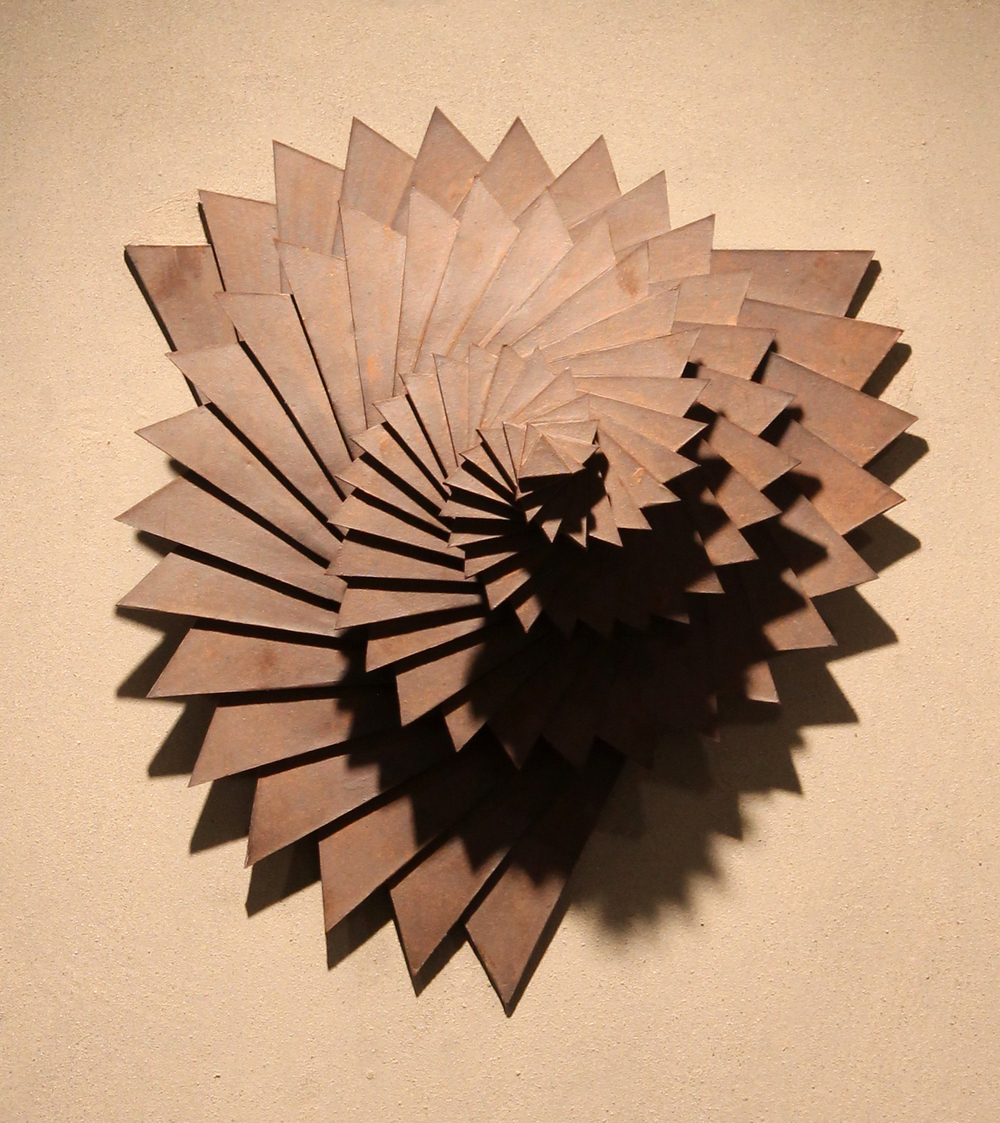 Harmonic Geometry V  |  16 x 16 x 13 inches  |  Stoneware, Stained birch, Sand  |  2015