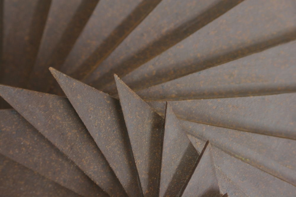 Harmonic Geometry II (Detail)  |  22 x 12 x 9 inches  | Stoneware, Stained birch, Sand  |  2015